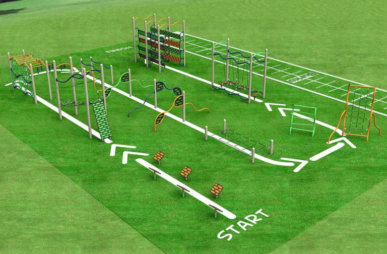 An obstacle course for both adults and kids to enjoy.